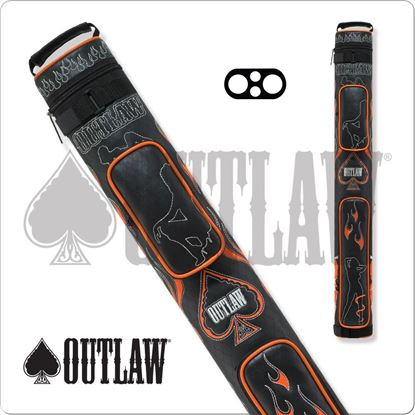 Picture of OUTLAW OLB22D 2X2 STITCH FLAMES HARD CUE CASE